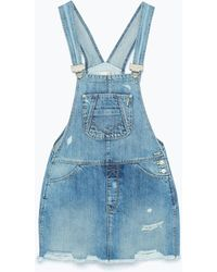 Zara Dungarees With Skirt blue - Lyst