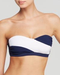 Shoshanna Navy Faille Banded Underwire Bandeau Bikini Top - Lyst