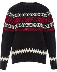 SUNO - Wool Fair Isle Crewneck Sweater - Lyst