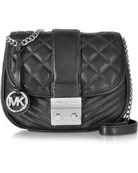 Michael Kors | Elisa Black Leather Medium Crossbody Bag | Lyst