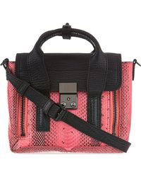 3.1 Phillip Lim Pashli Mini Snakeembossed Leather Satchel Pinkblack - Lyst