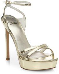 Stuart Weitzman Metallic Leather Strappy Platform Sandals - Lyst