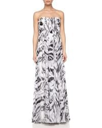 Halston Heritage Strapless Printed Crinkled Chiffon Gown - Lyst
