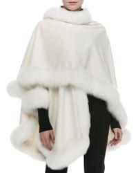 Sofia Cashmere Fox Fur-Trimmed Cashmere U-Cape - Lyst