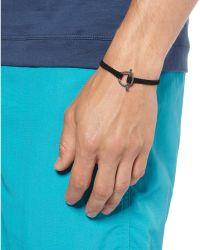 Yuvi - Black Diamond Silver and Woven Cord Bracelet - Lyst