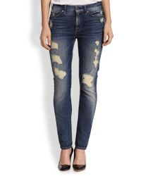 7 For All Mankind Distressed Skinny Jeans - Lyst