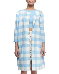 Oscar de la Renta Buffalo Check 3/4-Sleeve Long Coat - Lyst