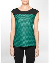 Calvin Klein White Label Striped Sheer Shoulder Cap Sleeve Top - Lyst