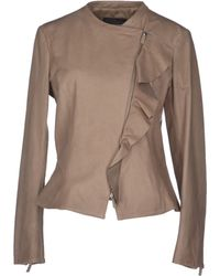 Emporio Armani Leather Outerwear - Lyst