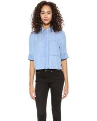 7 For All Mankind Short Sleeve Shirt with Long Pocket Dusty Light Blue - Lyst