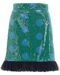 House Of Holland Sequin Skirt Blue Spot - Lyst