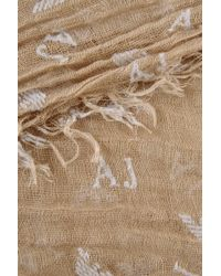 Armani Jeans Flock Print Scarf with All Over Logo - Natural