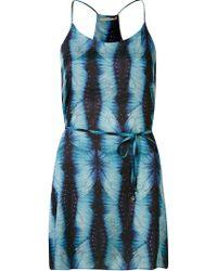 Blue Man Abstract Print Racerback Dress - Blue