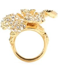 Alexander McQueen Gold Embellished Ring - Lyst