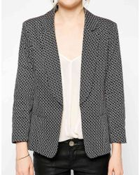 Oasis Gray Printed Blazer - Lyst