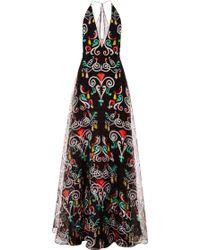 Honor Black Fleur De Lis Organza Plunge Neck Gown - Lyst