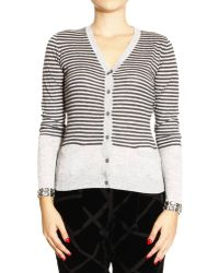 Armani Jeans Sweater Cardigan Stripped with Strass Details - Lyst