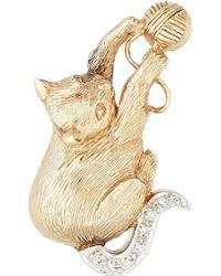 Kojis - Yellow Gold Diamond Set Cat Brooch - Lyst