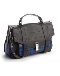 Proenza Schouler Black And Blue Pattern Leather Medium 'Ps 1' Convertible Shoulder Bag - Lyst