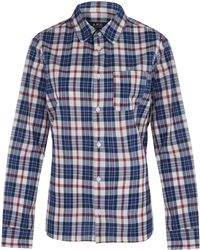 A.P.C. Navy Daytime Checked Cotton Shirt - Lyst