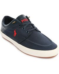 Polo Ralph Lauren Navy Blue Leather Canvas Jerred Sneakers - Lyst