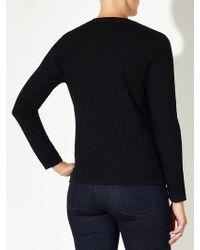 John Lewis Long Sleeve Slub Cotton V-neck T-shirt - Black
