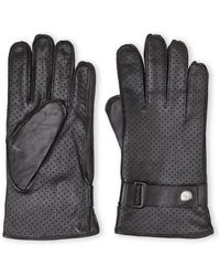 Joseph Abboud Black Perforated Leather Gloves - Lyst
