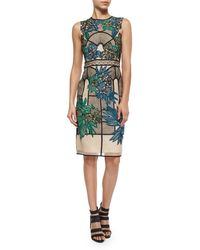 Erdem Floral Embroidered Lace Paneled Dress multicolor - Lyst