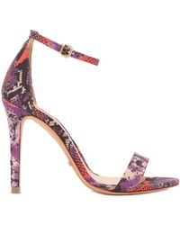 Schutz 105Mm Snake Printed Satin Sandals - Lyst