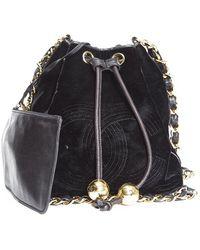 Chanel Pre-owned Velvet Vintage Drawstring Crossbody Bag - Lyst