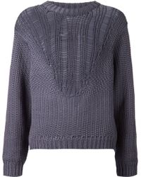 Tibi Chunky Open-Knit Sweater - Lyst