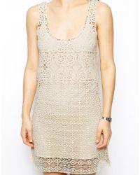 Suno Crochet Lace Dress In Gray Crochet Lace Denim Grey