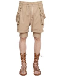 Balmain Belted Cotton Twill Double Cargo Shorts - Natural