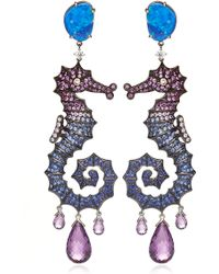 Lydia Courteille - 18k Yellow Gold Deep Sea Earrings with Diamonds and Fancy Sapphires - Lyst