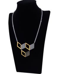 Anna Byers - Hex Black And Gold Cube Necklace - Lyst