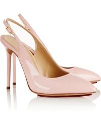 Charlotte Olympia Monroe Patent-leather Slingback Pumps - Lyst