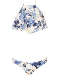 Zimmermann Twopiece Floral Halter Bikini - Lyst