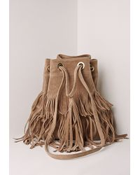 Missguided Layered Tassel Bucket Bag Nude - Natural