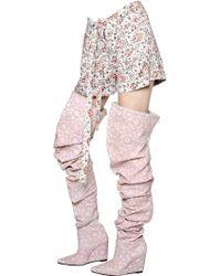 KTZ - Flower Print Viscose Satin Shorts - Lyst