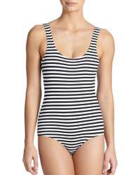 Zimmermann One-piece Striped Tank Swimsuit - Lyst