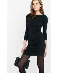 Express Ribbed Side Ruched Sweater Dress - Black