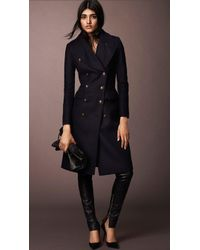 Burberry Wool Blend Fitted Military Coat - Lyst