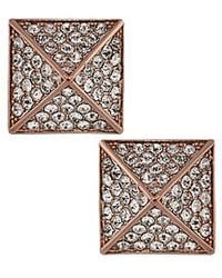 Vince Camuto - Rose Goldtone And Crystal Pyramid Stud Earrings - Lyst