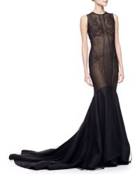 Jason Wu Lace Tulle Trumpet Gown with Train - Lyst