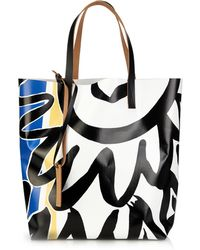 Marni - Abstract-Print Pvc And Leather Tote - Lyst