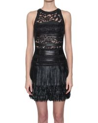 Amen Leather Lace Detail Dress With Fringe Bottom Black black - Lyst