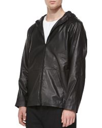 T By Alexander Wang Faux-leather Zip-up Hoodie - Lyst