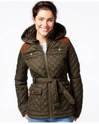 Krush | Hooded Belted Quilted Jacket | Lyst