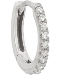 Stone - Pave Diamond & White Gold Hoop Earring - Lyst