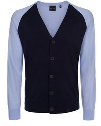 Paul Smith Sky Blue Contrast Front Cardigan - Lyst